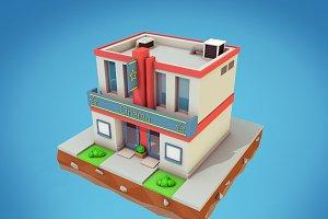 Cartoon Cinema Low Poly 3D Models