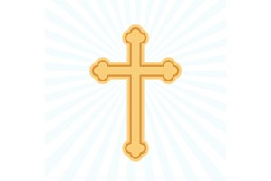 Religion cross flat icon