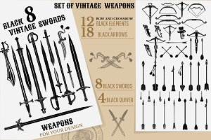 Set of vintage weapons