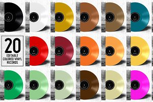 20 Colored Vinyl Records - Mockup