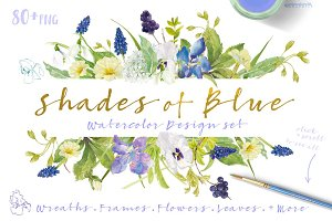 Shades of Blue-watercolorBundle