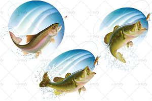 Jumping fish in water spray (3x)