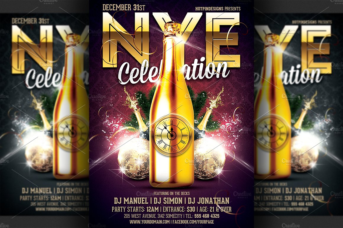 new years eve party flyer template flyer templates creative market
