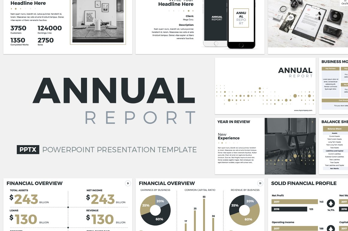 annual report powerpoint template presentation templates creative market. Black Bedroom Furniture Sets. Home Design Ideas