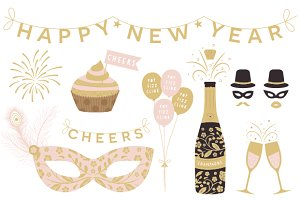 New Year Cliparts EPS & PNG