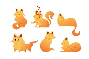 Kitty Cat - modern vector set of flat illustrations.