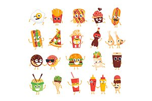 20 Fast Food Characters Set