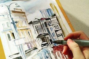 Watercolor street illustration