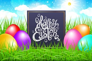 happy easter lettering Colorful eggs