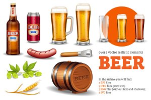 Beer Realistic Set