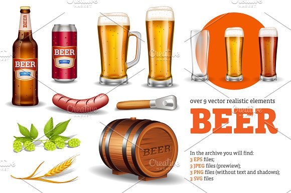 Beer Realistic Set in Objects