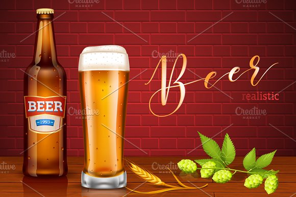 Beer Realistic Set in Objects - product preview 1