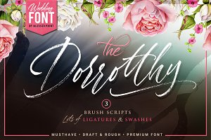 Dorrotthy script: 3 fonts & swashes