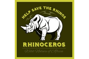 Help save and protect the endangered Rhinos from illegal hunting icon emblem.