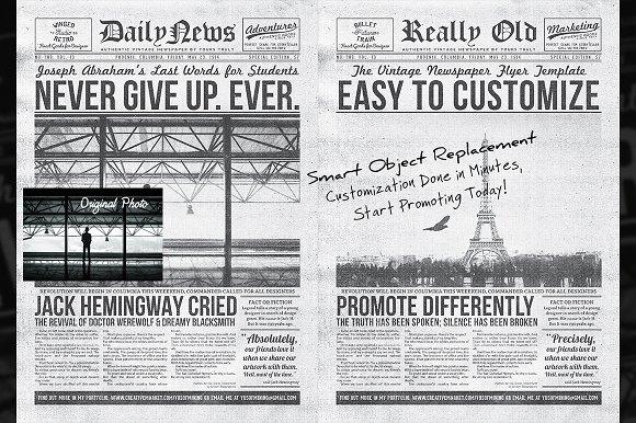 Vintage Newspaper Flyer Template Flyer Templates on Creative Market – Vintage Newspaper