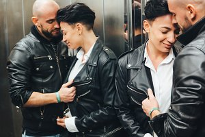 Guy and girl, love story, elevator