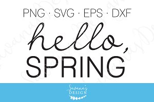 Hello Spring SVG, EPS, DXF Decal