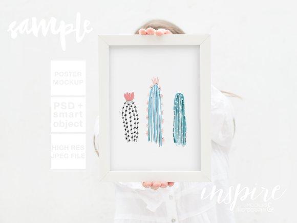 Girl Holding Frame Mockup + PSD ~ Product Mockups ~ Creative Market