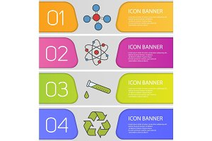 Science banner templates set