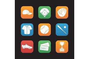 Baseball accessories flat design icons set