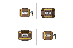 Alcohol wooden barrels color icons set