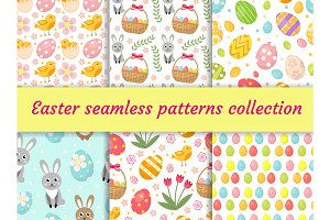 Cute Easter seamless pattern collection with birds and eggs. Endless Spring background, texture, digital paper. Vector illustration.