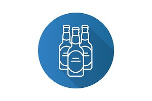 Beer bottles flat linear long shadow icon