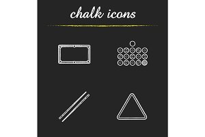 Billiard equipment chalk icons set
