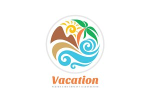 Summer Travel Vacation Vector Logo