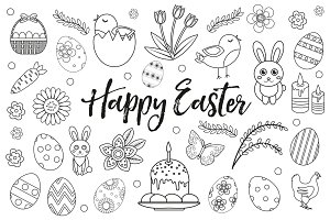 Happy Easter collection object, design element. Hand drawing, outline style. Easter coloring page set. Vector illustration, clip art.