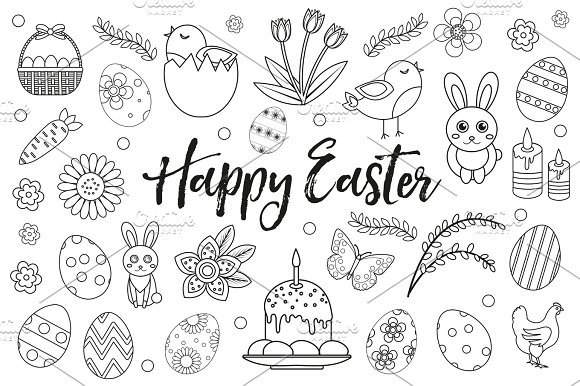 happy easter collection object design element hand drawing outline style easter coloring - Happy Easter Coloring Pages
