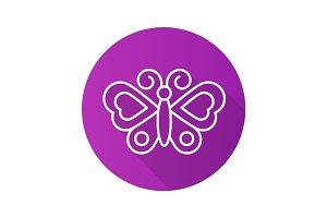 Butterfly flat linear long shadow icon