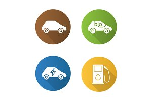 Eco friendly cars. Flat design long shadow icons set