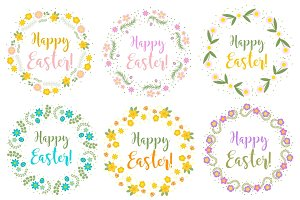 Happy Easter set floral frame for text, isolated on white background. Vector illustration.