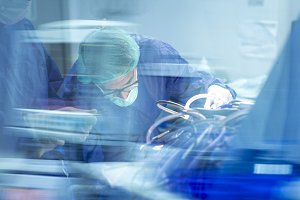 surgeon working in operating room