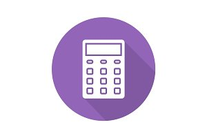 Calculator flat design long shadow icon