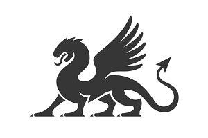 Heraldic Dragon Silhouette Logo