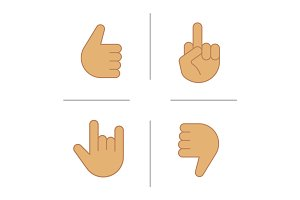 Hand gestures color icons set