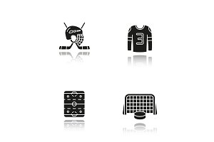 Hockey drop shadow black icons set
