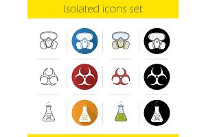 Chemical industry icons set