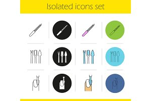 Manicure equipment icons set