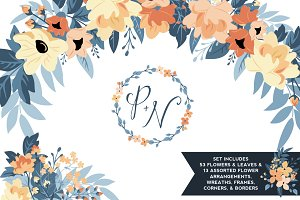Peach & Navy Floral Graphics Set
