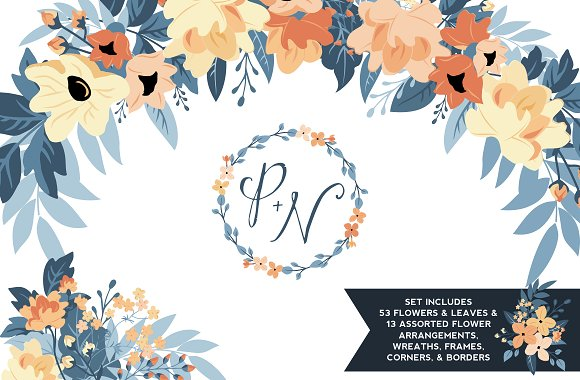 Peach Navy Floral Graphics Set