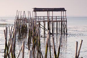Carrasqueira old wood pier, Portugal