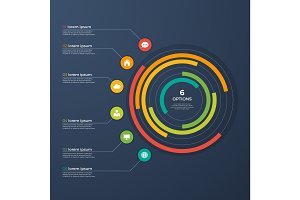 Presentation infographic circle chart with 6 options