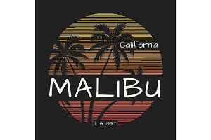 Malibu california tee print with palm trees