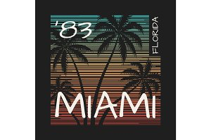 Miami Florida tee print with palm trees