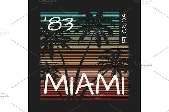 Miami Florida Tee Print With Palm Trees