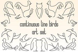 Continuous line birds art set