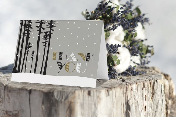 Thank You Card Snow Forest Scene